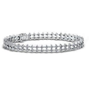 4.90 Carats double row diamonds women bracelet gol